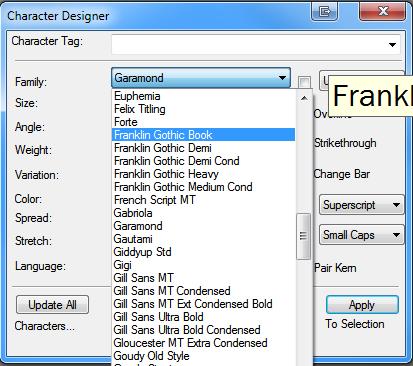 Shorten the font list in FrameMaker