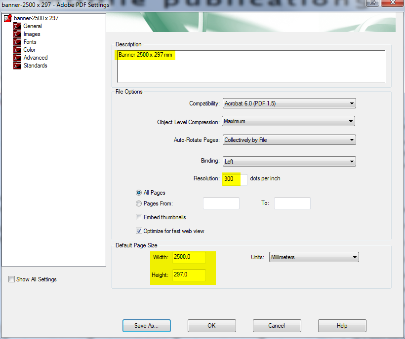 save printer settings with pdf acrobat